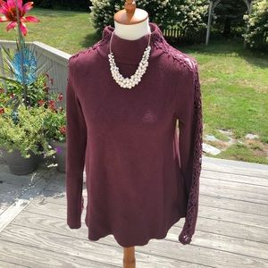 Maroon long sleeve sweater with lace sleeves